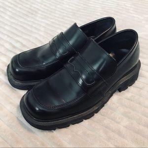 Dr. Martens Black Chunk Heel Loafers